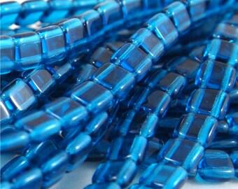 Czech Mates 6mm 2 Hole tile beads-Capri Blue 50 pieces (CZ CM CB)