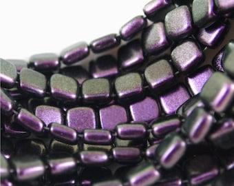 Czech Mates 6mm 2 Hole tile beads-Polychrome Black Curranr- 50 pieces (CZ CM PBC)
