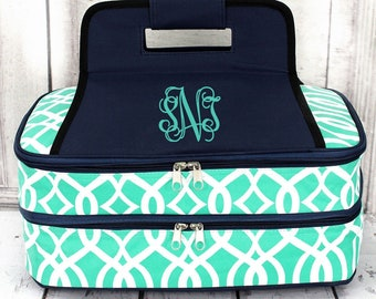 Monogrammed Insulated Casserole Carrier Double or Single Dish tote Dinner in a bag keep warm insulated
