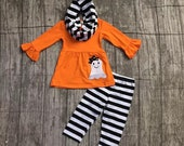 ON SALE this week ONLY Halloween GLoW In The Dark Personalization Applique Ghost set with scarf Embroidered Monogram or personaliz