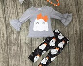Size 6 7 ON SALE This Week ONLY Halloween Applique Ghost set with matching necklace and bow, Embroidered Monogram or personalized Fall