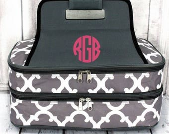 Monogrammed Insulated Casserole Carrier Double Single Dish tote Dinner in a bag keep warm