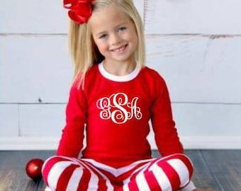 ON SALE this week ONLY! Includes Free Personalization Matching Monogram Christmas Pajamas Pj's Family Custom Name Red White Stripe baby gown