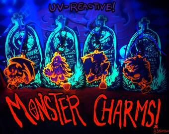 "Classic Horror Monster 1.5"" Acrylic Charms: frankenstein, ghost, werewolf, vampire, zombie, witch, mummy, gillman, alien"