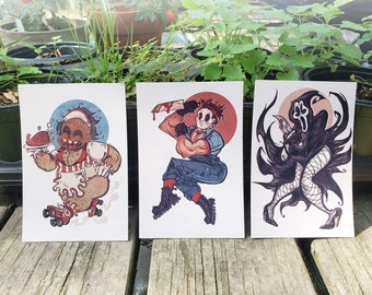 Horror Slasher Pinup Prints: Leatherface, Michael, Ghost (4x6) (8.5x11)
