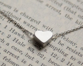 Silver Heart Pendant Necklace, Gift for Her - Wife, Sister, Girlfriend, Best Friend