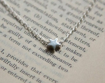 Sterling Silver Single Star Pendant Necklace, Gift for Her - Best Friend, Sister, Girlfriend