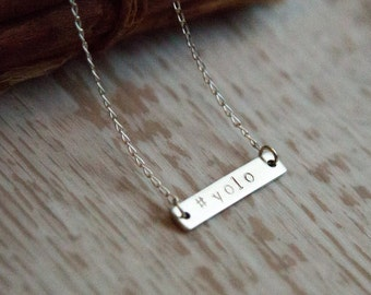 Sterling Silver #YOLO Pendant Necklace, Gift for Her, him, best friend, sister
