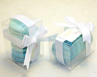Turquoise Blue Ombre Favor Boxes - 12 Blue Shower Favors, Blue and White Bridal Favors