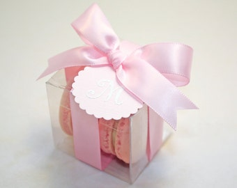 Pink Macaron Boxes, Pink Wedding Favor - 24 Favor Boxes