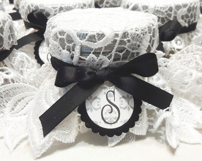 Featured listing image: Elegant Lace Wedding Favors, Pie in the jar - 24 Black and White Lace Weddign favor