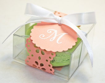 Coral Doily Favor Boxes, Peach French Macaron - 30 Favor Boxes, Bridal or Wedding Favors