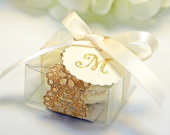 Glitter doily, Gold Favor box, Doily Macaron Box - 30 Glitter Gold Favor Boxes