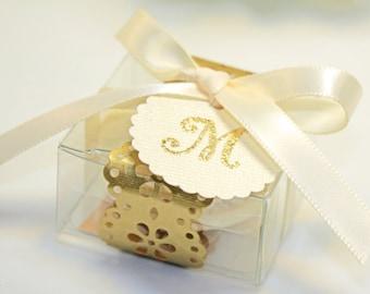 Golden Doily Favor box, Gold Macaron Wedding Favor Box - 30 Gold Favor Boxes