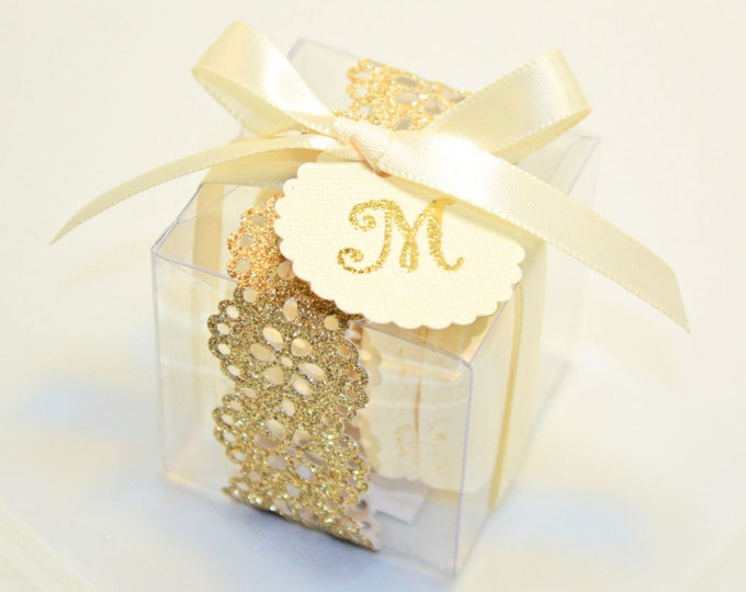 Featured listing image: Glitter, Shimmer Golden Shower Favor Boxes, Macaron Box - 30 Glitter Gold Favor Boxes