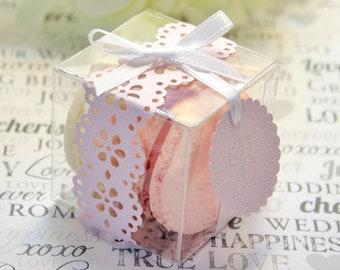 Blush Pink Shower Favor Box, Macaron Box - Set of 30 Favor Boxes - Bridal or Wedding Favors