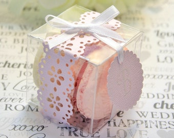 Blush Pink Favor Box, Pink Doily Macaron Box - 30 Pink Favor Boxes - Bridal or Wedding Favors