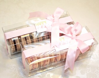 Pink Macaron box, Bridesmaids gifts - 1 dozen