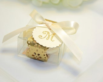Golden Doily Favor box, Gold Macaron Favor Box - 30 Gold Favor Boxes