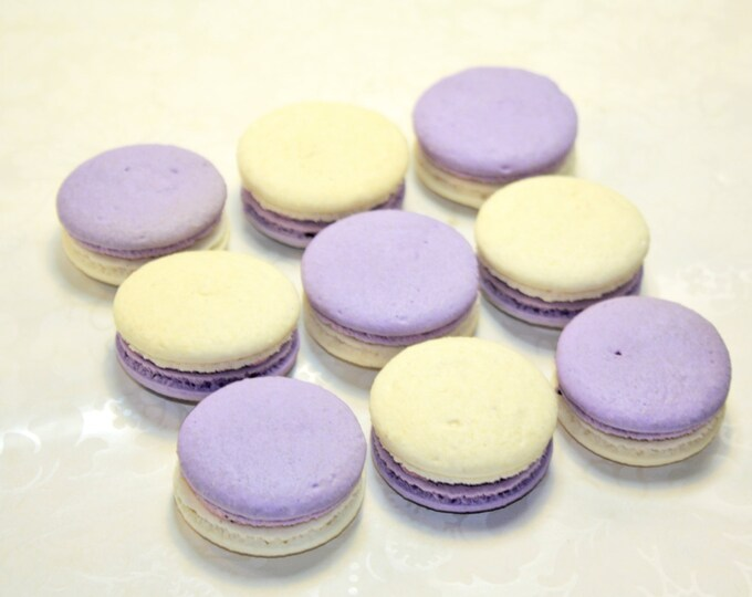 Featured listing image: Lavender, French Macaron, girl party theme - 2 dozen