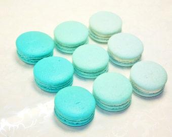 Turquoise Blue Ombre, French Macaron, Organic - 3 dozens