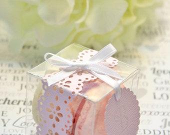 Blush Pink Favor Box, Pink Doily Macaron Box - 30 Pink Favor Boxes - Bridal or Wedding Favors