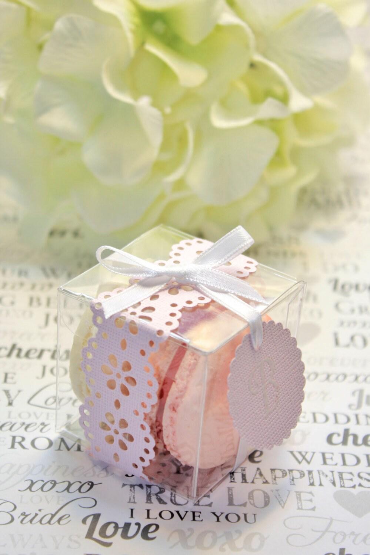 Blush Pink Favor Box, Pink Doily Macaron Box - 30 Pink Favor Boxes ...