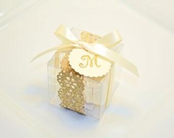 Glitter, Shimmer Golden Shower Favor Boxes, Macaron Box - 30 Glitter Gold Favor Boxes