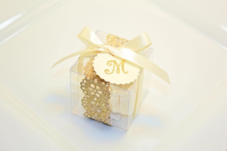 Glitter Shimmer Golden Shower Favor Boxes Macaron Box 30