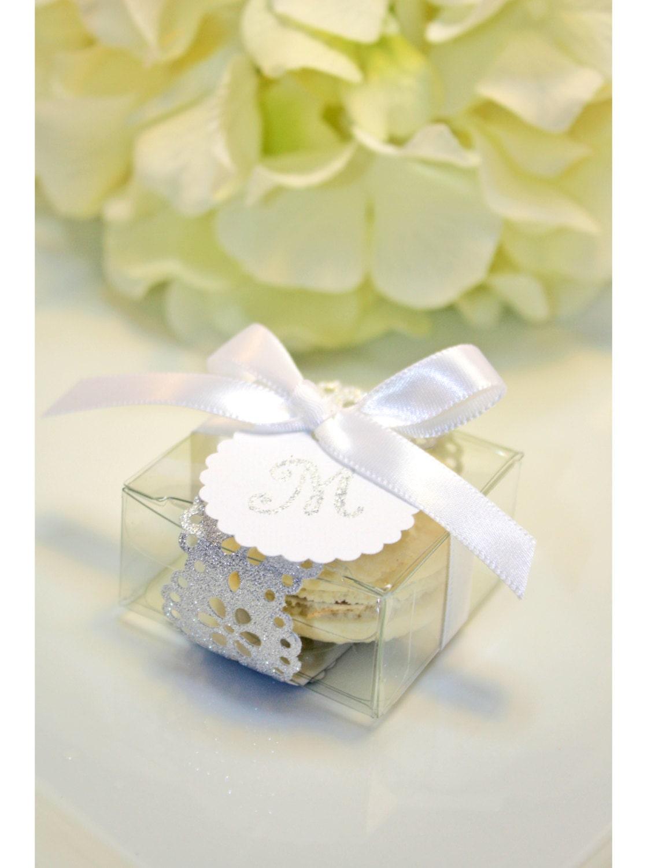 Silver Wedding Favors, Elegant Silver Doily Macaron Box - 30 Glitter ...