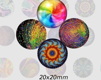 TR0006 - 20 mm) set with multicolored cabochons, round 20 mm images