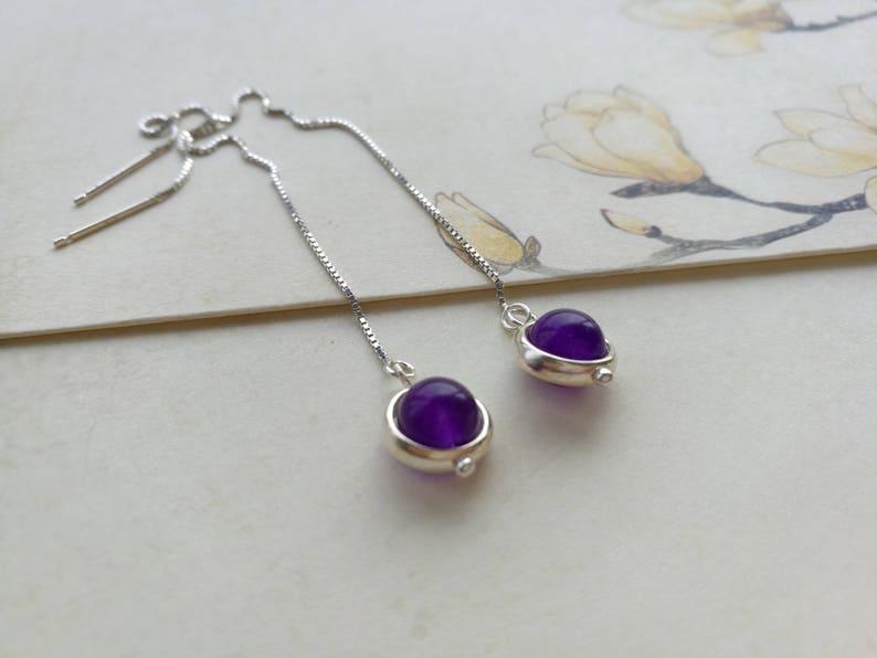 perle de Calc\u00e9doine violette avec anneau argent 925 Boucles D\u00e9licates  Cha\u00eenette coulissante Cha\u00eenes d\u2019oreilles traversantes Argent 925
