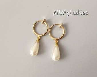 Clip earrings, with pearls form drops of water, daily jewelry, gold color