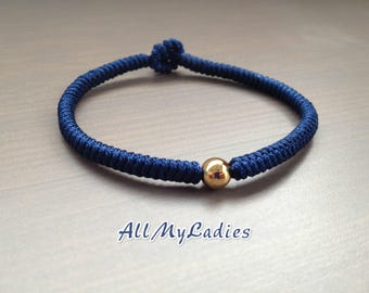 Woven bracelet dark blue jade wire and gold plated Pearl 14K, everyday jewelry