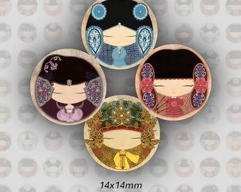 TR0008 - 14 mm) Digital Images girls, KAWAII, 14 mm round cabochons