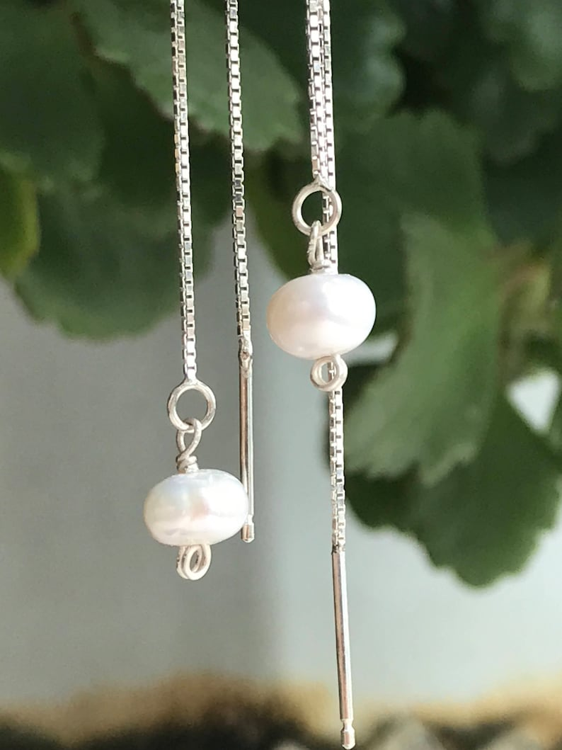 Chains through 925 Sterling Silver earrings Freshwater Pearl White delicate jewelry  sliding chain  modern minimalist jewelry