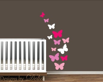 Nursery Wall Decal, Colorful Butterflies
