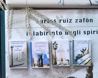 Miniature Necklaces Books Series The Shadow of the wind-the Shadow of the Wind book Necklace handmade Zafon