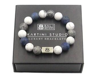 Mixed Stone and Sterling Silver Beads Bracelet Sodalite Designer Bracelet Men Howlite and Jasper Bracelet