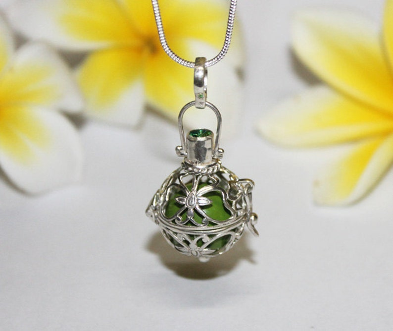 Baby Shower Gift Harmony Necklace Genuine 925 Sterling Silver Harmony Ball Chime Pendant with Silver Chain Harmony Ball