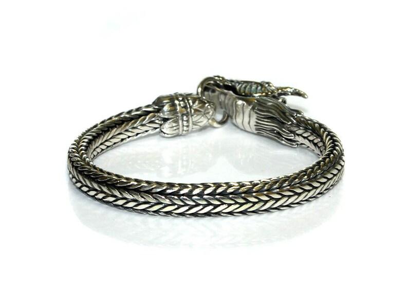 7mm Sterling Silver Chain Bracelet Silver Dragon Sterling Silver Dragon Bracelet Mens Silver Bracelet 7mm Silver Chain Bracelet