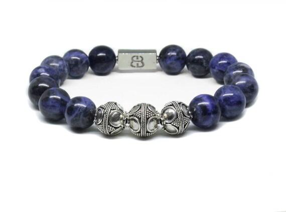 Solid 925 Sterling Silver Blue Gemstone Bead Bracelet Sodalite Lapis Turquoise