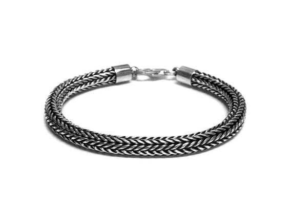 nouveau produit 5469c aca0c Chaîne serpent en argent sterling, Bracelet homme 6mm chaîne en argent,  collier chaîne en argent pour homme, argent Sterling chaîne serpent, chaîne  en ...