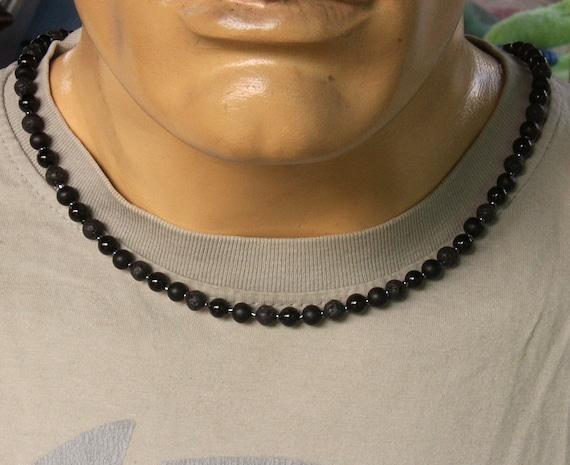 Herren Halskette, matt schwarzer Onyx, Obsidian und Lava Stein Halskette, Herren  schwarz, Perle Halskette Männer, schwarze Perlenkette d4f8231c45
