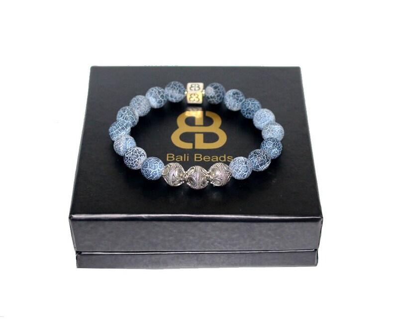 Men S Bracelet Blue Crackled Agate And Sterling Silver Etsy