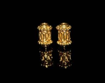 Two 11mm x 8mm Gold Vermeil Bali Beads, 22 Karat Gold Vermeil Bali Beads, Gold Plated Wire Work Tube Beads