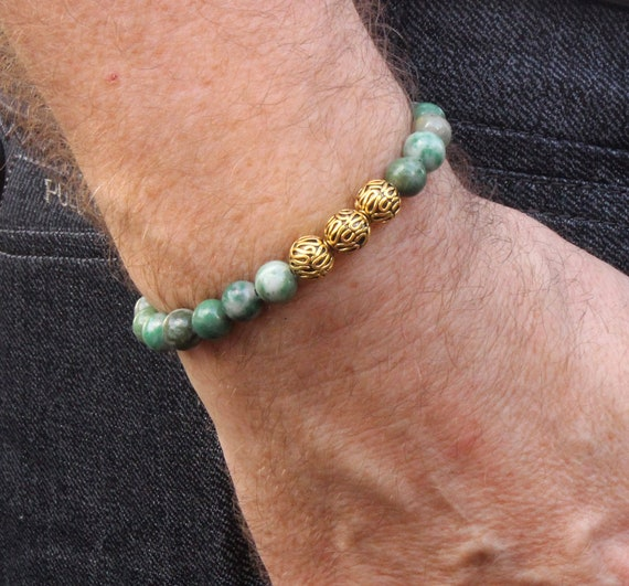 Mens Designer Bracelet Mens Qinghai Jade and Sterling Silver Bracelet Jade and Silver Bracelet