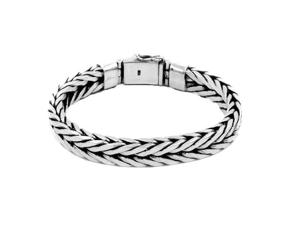 Solid Sterling Silver Snakeskin Chain Bracelet Heavy Duty Sterling Silver Bracelet