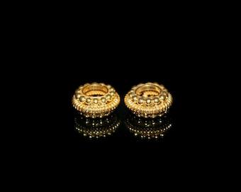 Two 9mm 22 Karat Gold Vermeil Rondelle Spacer Beads