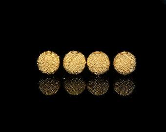 Four (4) 8mm Gold Vermeil Granulation Ball Beads, Gold Beads, Bali Beads, Vermeil Beads, Gold Vermeil Beads, Beads, Vermeil Beads